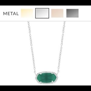 Elisa Gold Short Pendant Necklace Emerald Cat Eye